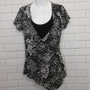 Black White Abstract Floral Rhinestone Sequin Top
